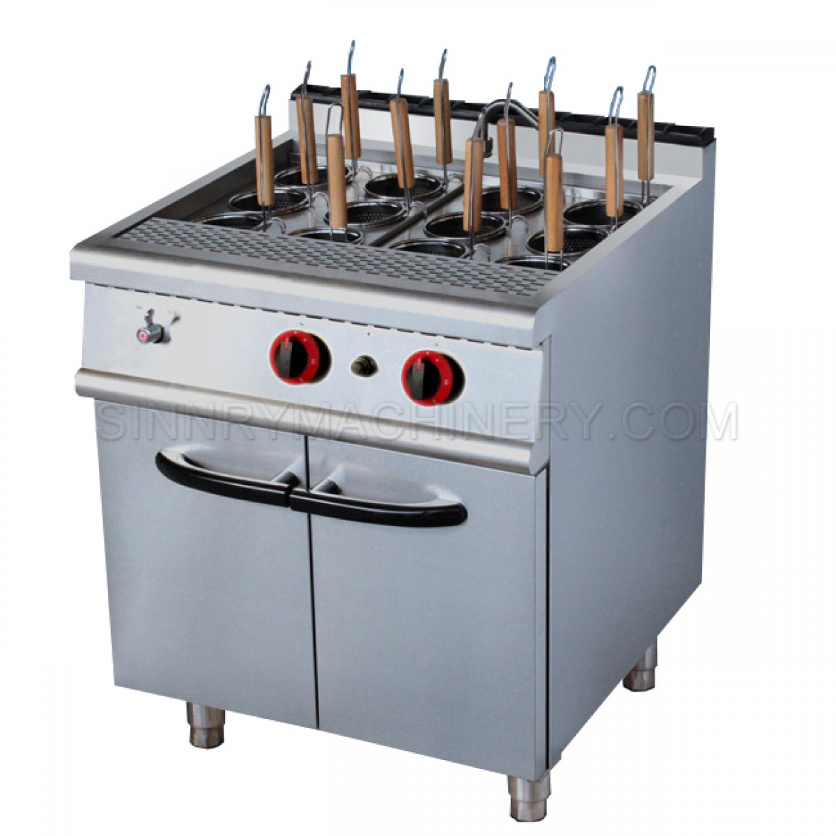 Pasta Cooker with Cabinet - Gas, 22 KW, 12 Baskets, SN-CRG203A